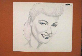 Portrait Face Lady Pencil Drawing Art Antique Sketch   Prints