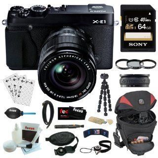 Fujifilm X E1 XE1 16.3MP Compact System Digital Camera with 2.8 Inch LCD  Kit with 18 55mm Lens (Black) + 64GB Memory Card + Tiffen Photo Essentials Kit (UV Protector, 812 Color Warming, Circular Polarizing Glass Filters & 4 Pocket Pouch) + Tamrac Came