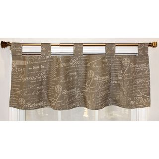 French Script Taupe Cotton Tab Top Valance RLF HOME Valances