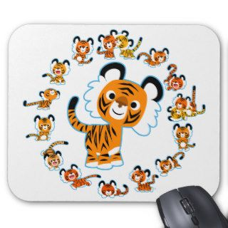 Fun Cartoon Tigers Mandala (Blue) Mousepad