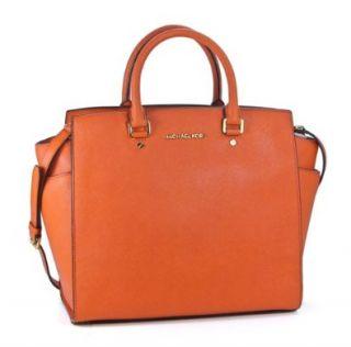 Michael Kors Selma Large North South Tote Burnt Orange Leather Handbag Shoes