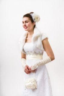 White Faux Fur Bolero Jacket   Large Wedding Ceremony Accessories