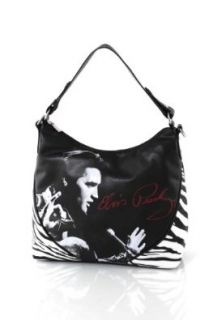 Women's Officially Licensed Elvis Presley Zebra Print Hobo Shoulder Bag Handbags Shoes