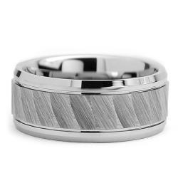 Tungsten Carbide Men's Chiseled Center Ring (9 mm) Men's Rings