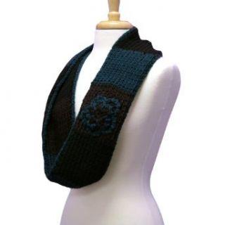 Luxury Divas Brown Blue & Black Color Block Crochet Knit Infinity Scarf Cold Weather Scarves