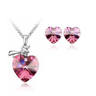 Rose Pink Crystal Heart Earrings & Pendant Set Used Swarovski Crystals Kitchen & Dining