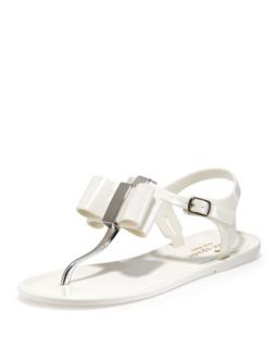 Womens filo bow jelly thong sandal, cream   kate spade new york