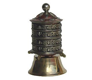 Tabletop Buddhist Prayer Wheel From Nepal, Brass and Copper with Om Mani Padme Hum Mantra   Collectible Figurines