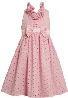 Bonnie Jean Girls 7 16 Eyelet Ruffle Collar Dress, Pink, 7 Special Occasion Dresses Clothing