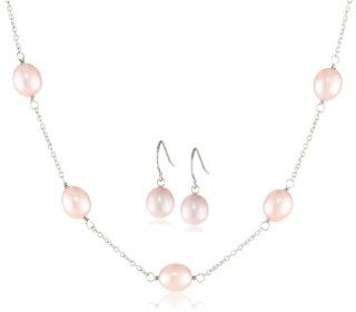 Honora Pink Freshwater Cultured Pearl Necklace and Earrings Jewelry Set: Jewelry