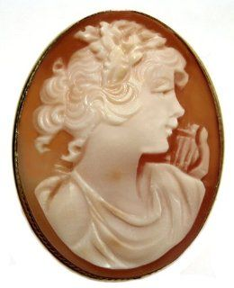 Cameo Brooch Pendant Modern Art Master Carved Sterling Silver 18k Gold Overlay Italian Jewelry