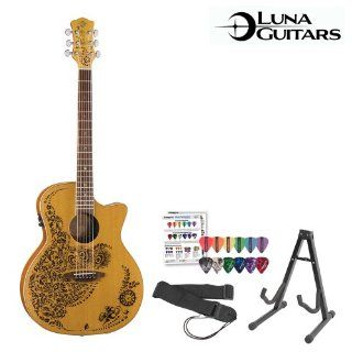 Luna Guitars Henna Oasis (HEN 02 CDR) Cedar Acoustic Electric Guitar with Guitar Stand, Guitar Strap & ChromaCast/GoDpsMusic Pick Sampler Musical Instruments
