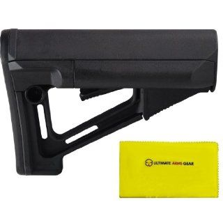 """Magpul Industries MAG 470 STR Military Mil   Spec BLK Stealth Black Buttstock Stock with Rubber Butt Pad, Cheek Weld Rest, Water Resistant Battery Tubes + Ultimate Arms Gear Rifle/Shotgun/Pistol/Gun Care and Reel Silicone Lubricated Cleaning Cloth 12"""""""