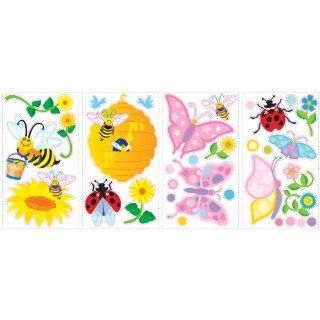 RoomMates SPD0001SCS Bees and Butterflies Peel and Stick Wall Decals, 1 Pack   Decorative Wall Appliques
