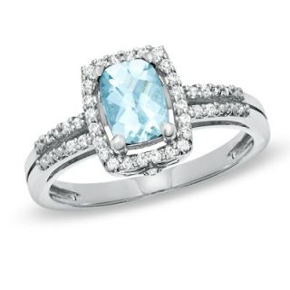 Cushion Cut Aquamarine and White Topaz Frame Ring in Sterling Silver
