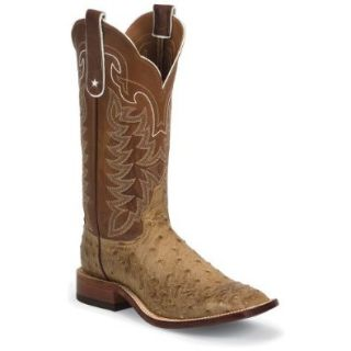 Tony Lama Men's Full Quill Ostrich Boot Square Toe Shoes
