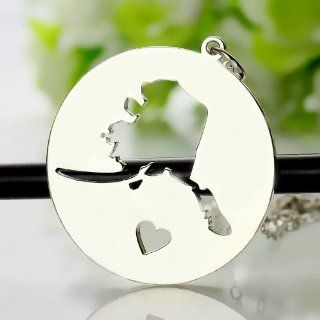 Sterling Silver State Love Heart Necklace   Alaska State Necklaces Silver Map Necklace with Heart Custom Jewelry Kitchen & Dining