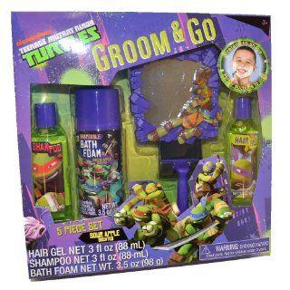 Teenage Mutant Ninja Turtles Tmnt Boys 5pc Bath Groom & Go Gift Tub Set   Includes Mirror, Play Razor, Bath Foam, Shampoo, Hair Gel Toys & Games