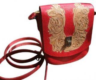 GPUFashion Handmade Leather Craft Shouder Bag Envelopment Adjustable Shouder Strap Khaki Carved with Red Tang Dynasty flower Design