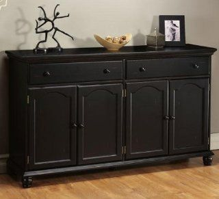 "Shop Harwick Black Credenza Sideboard Buffet Table 35""H x 60""W x 16""D, 60""W, BLACK at the  Furniture Store"