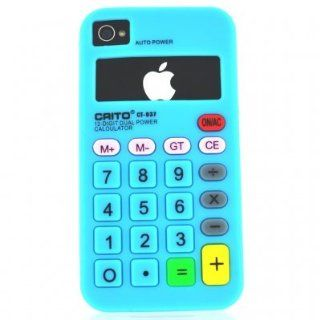 FlashBacks Old School Retro Calculator Silicone Case Cover for AT&T Verizon Sprint Apple iPhone 4 4S   Blue Cell Phones & Accessories