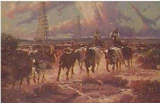 Robert Summers   Texas Gold   Signed & Numbered Texas Longhorn Print