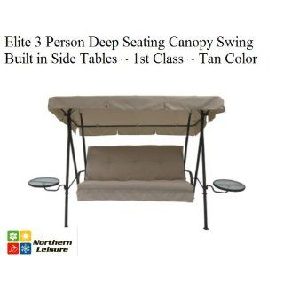 Elite Outdoor 3 Triple Seater Person Swing Glider Canopy Patio Deck W/ Built in side Tables  Other Products