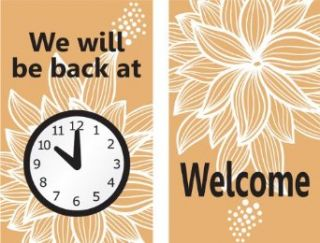 """Accuform Signs MPCM509 Dura Plastic Double Sided """"Be Back"""" Clock Sign, Legend """"WE WILL BE BACK AT (PIC OF CLOCK)/WELCOME"""", 5"""" Width x 8"""" Length, Black/White on Brown: Industrial Warning Signs: Industrial & Scientific"""