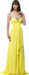 New Yellow Belt Pleat Beads Tiered Train Wedding Dress Prom Party Evening Gown: Clothing