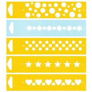 "Set of 5   6.9"" x 1.7"" Reusable Flexible Plastic Stencils for Cake Design Decorating Wall Home Furniture Fabric Canvas Decorations Airbrush Drawing Drafting Template   Circles Stars Checkers Hearts"