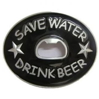 Save Water Drink Beer Bottle Opener Belt Buckle: Clothing