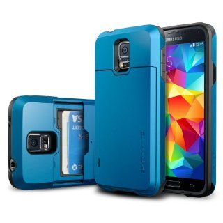Galaxy S5 Case, Spigen� [Card Slot] Samsung Galaxy S5 Case [Armor] [Slim Armor Card Slider CS Electric Blue] *2 Year Warranty* Slim Fit Dual Layer Protective with Slide Card Slot Back Plate Wallet Case for Galaxy S5 / Galaxy SV (2014)   CS Electric Blue (S