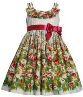 Size 4T/4 BNJ 0739R BLUE RED WHITE GREEN TRIPLE STRAP 'Daisy Flower Garden' PRINT Special Occasion Flower Girl Easter Party Dress, R60739 Bonnie Jean GIRLS Clothing