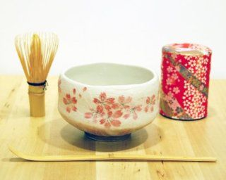 Ryu Mei Beginner Kyoto Ceremony Green Tea Set with Organic Matcha Green Tea Powder, Chawan Tea Set Bowl Bamboo Spoon Bamboo Whisk and a Washi Caddy Tin 527 24 Japan Red Sakura  Grocery & Gourmet Food