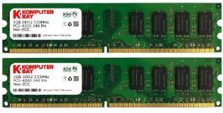 Komputerbay 2GB 2X 1GB DDR2 533MHz PC2 4200 PC2 4300 DDR2 533 (240 PIN) DIMM Desktop Memory CL 4: Computers & Accessories
