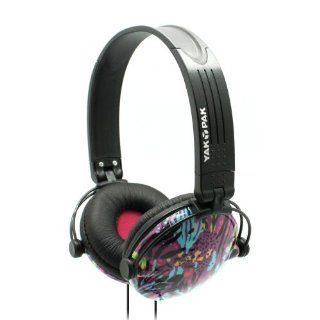 Yak Pak Retro Headphones   Purple Jungle Spots (HP6391 539): Electronics