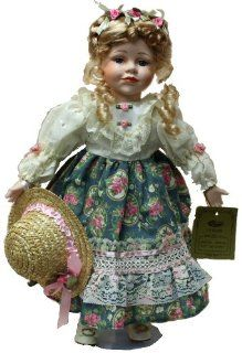 Standing Porcelain 18 Inches Doll with Red and Gold Traditional Outfit with Flowers and Headband Toys & Games