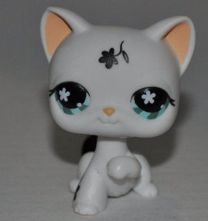 Shorthair #547 Target Exclusive (White, Blue Eyes, Black Flowers)   Littlest Pet Shop (Retired) Collector Toy   LPS Collectible Replacement Single Figure   Loose (OOP Out of Package & Print)
