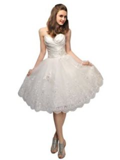VILAVI Women's Princess Taffeta Sweetheart Strapless Lace up Short Wedding Dresses at  Women�s Clothing store