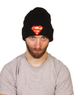 Black Knitted DC Comics Superman Logo Beanie Hat from Addict at  Men�s Clothing store: Skull Caps