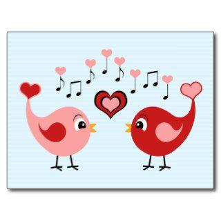 Cute Singing Love Birds   Red & Pink Heart Cartoon Post Card