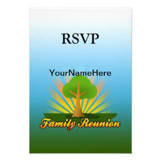 Custom Family Reunion, Green Tree with Sun Rays Invitations