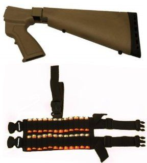 Ultimate Arms Gear Tactical Sporter Dark Earth Tan Mossberg 500 / 590 12 Gauge Shotgun Conversion Ergonomic Stock & Rear Pistol Grip + Rubber Recoil Butt Pad + Sling Swivel Stud + 24 Shot Shell Ammo Reload Carrier Thigh Dropleg For Shotgun Rounds Steal