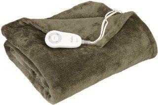 Sunbeam TSM8US R608 32A00 Microplush Heated Throw, Olive   Throw Blankets