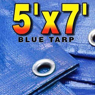 5' X 7' Premium Blue Multi Purpose 6 mil Waterproof Poly Tarp Cover 5x7 Tent Shelter Camping Tarpaulin Rip Smart