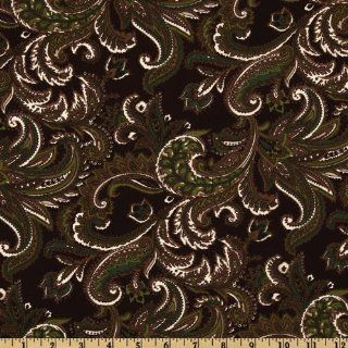 58'' Wide Designer Poly Shirting Paisley Green/Brown Fabric By The Yard