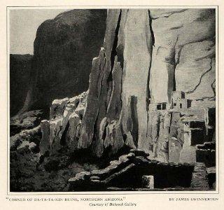 1925 Print Artist James Swinnerton Ba Ta Ta Kin Ruins Arizona West Desert Rocks   Original Halftone Print