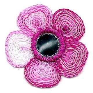 Venus Ribbon Iron On Daisy with Mirror Applique, 4 Piece, 1 1/4 Inch by 1 1/4 Inch, Fuchsia Multi with Silver