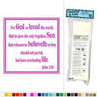 For God So Loved The World   John 3.16   Bible Verse   Vinyl Sticker Decal Wall Art Decor   Pink  Business And Store Signs