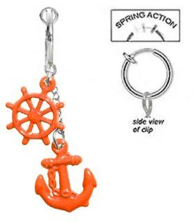 Fake Belly Navel Non Clip on Orange anchor & wheel dangle summer nautical boating Ring: Jewelry